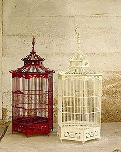 red and cream birdcages
