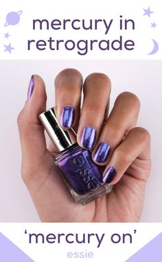 this sparkling royal purple, 'mercury on', has us falling into orbit. shop the new essie mercury in retrograde shade duo exclusively at ulta beauty. Essie Polish, Nail Polish Art, Nail Polish Colors, Nail Art, Nail Polishes, Purple Nail Polish, Diy Nails, Cute Nails, Pretty Nails
