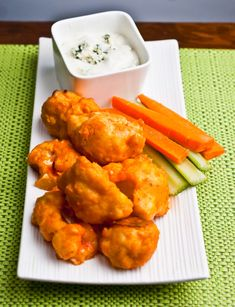Buffalo Cauliflower Bites with Blue Cheese Dipping Sauce Recipe