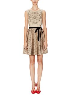 Jewel Print Dress with Dotted Tulle Skirt