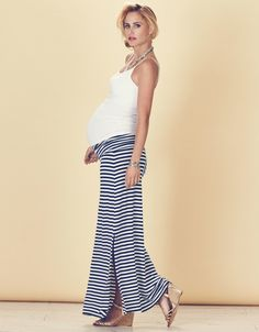 Nautical Striped Maternity Maxi Skirt Blue and White. For Maternity Inspiration, Shop here >> http://www.seraphine.com/us  Lounging | glamorous | stylish | Maternity swimwear | exotic locations | sun | sea | lazy days | pool | swimsuits |  Summer maternity style | pregnancy | summer party | food | summer inspiration | nails | shirt | Flower | summer | Maternity Style | Maternity Fashion | Maternity Clothes | Pregnancy Style | Pregnancy Fashion | Baby on Board | Maternity Wardrobe | babymoon.