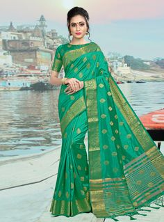d05c79ae47208 Buy Sea Green Silk Festival Wear Saree 146872 with blouse online at lowest  price from vast