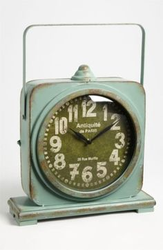 Iron Table Clock - such a great color for a vintage-y kids room. Old Clocks, Antique Clocks, Vintage Clocks, Alarm Clocks, Louis Xvi, Vintage Love, Vintage Items, Clock Tattoo Design, Father Time