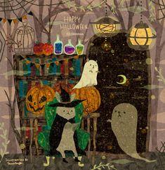 Halloween Art, Happy Halloween, Autumn Art, Chalk Art, Cute Illustration, Dark Fantasy, Illustrators, Paper Art, Fairy Tales