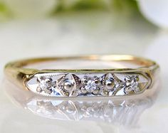 Antique Keepsake Diamond Wedding Band 14K Two Tone Gold Decorative Art Deco Wedding Ring Ladies Wedding Band Petite Diamond Wedding Ring!