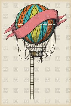 Retro colored vintage hot air balloon with the banner and ladder . Clipart Design, Vector Clipart, Vector Graphics, Vector Free, Hot Air Balloon, Balloons, Banner, Paper Crafts, Clip Art