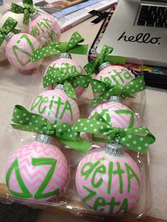 DIY Ornaments for my sisters! would be cute for any sorority!