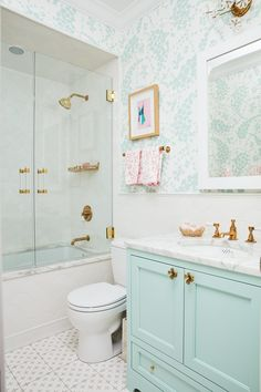 Such a whimsical guest bathroom. Love the colors with the brass accents. The acrylic towel bar and shower door pulls are the perfect finishing touches. By Luxholdups. Girl Bathrooms, Upstairs Bathrooms, Bathroom Kids, Small Bathroom, Girl Bathroom Ideas, Bathroom Chrome, Bathroom Inspo, Teenage Bathroom, Budget Bathroom