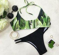 Green Print Bikini Set