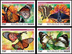 NIG15605d Butterflies (Danaus chrysippus, Charaxes jasius, Acraea neobule, Appias epaphia)