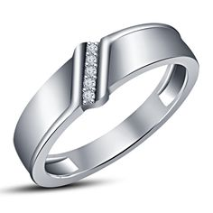 Round White CZ Sterling Silver Engagement Wedding Band Ring