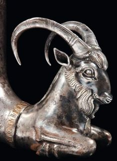 Greek silver rhyton with an Ibex, 4th cent BC. Photo Pierre Bergé & associés