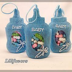 12 Fillable Bottle Pouches Baby Shower Favors Blue Party Decorations Boy