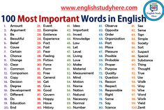100 most important words for learning english… Here 100 most important words for learning english; The post Here 100 most important words for learning english… appeared first on Woman Casual - Life QuotesHere 100 most important . English Verbs, English Vocabulary Words, Learn English Words, English Study, English English, Academic Vocabulary, English Reading, English Writing Skills, Academic Writing