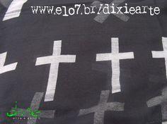 Lenço Preto Crucifixo  www.elo7.com.br/dixiearte