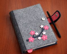 Items similar to Refillable Felt Journal Cover, Fabric Planner Cover, Reusable Diary Cover Decorated with Sakura Branch, Gift for Her on Etsy Diy Notebook, Notebook Covers, Journal Covers, Felt Phone Cases, Felt Case, Planer Cover, Diary Covers, Needle Book, Foam Crafts