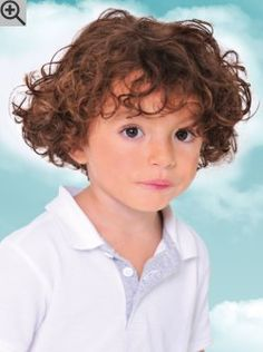 Hairstyle for toddlers or preschool boys with curly hair. The cut makes it easier to take care of the curls.