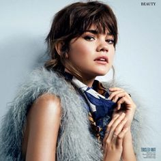 Maia Mitchell rocking choppy bangs for InStyle Magazine | The Fosters