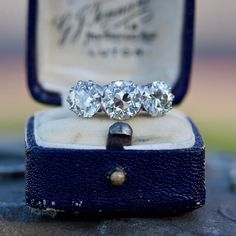 Antique Engagement Ring 1920's Three Stone Diamond Platinum