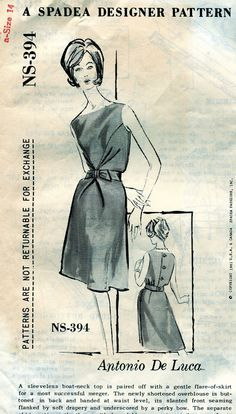 Spadea NS-394 | 1960s dress by ANTONIO de LUCA Vintage Sewing Patterns, Sewing Ideas, Pattern Grading, Summer Dress Patterns, Vintage Summer Dresses, Pattern Recognition, Boat Neck Tops, Pret, Fashion Project