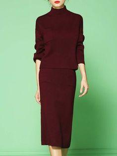 Wine Red Slit Two Piece Long Sleeve Stretchy Plain Midi Dress