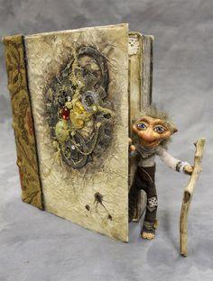 House Troll Secret Book ooak bendable Troll Art by FairyWillow