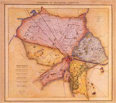 Compositiekaart van de plattegronden van de gemeenten Eindhoven, Woensel c.a., Tongelre, Strijp, Stratum en Gestel c.a. naar de situatie in 1865 volgens J. Kuijper, naar een uitgave van H. Suringar te Leeuwarden.