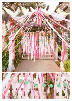 streamer adorned altar - for the bride and groom that just wanna have fun!