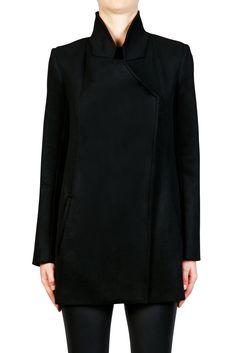 Felted Wool Coat - BLACK | NICHOLAS | Green with Envy