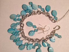 Sky Blue Mother of Pearl Cha-Cha bracelet and earrings $18 | TTEDesigns - Jewelry on ArtFire My Etsy Shop, Sky, Pearls, Bracelets, Earrings, Blue, Jewelry, Design, Heaven