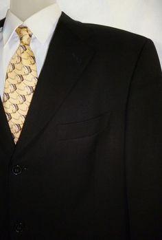NWOT Hart Schaffner Marx Men's Black Silk Wool Blazer Sport Coat Jacket 42R #HartSchaffnerMarx #ThreeButton