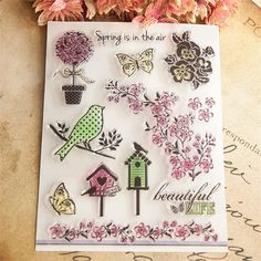 Spring is in the air bird flowers Design Transparent Stamp DIY Scrapbooking for wedding gifr christmas gift paper card CC-028