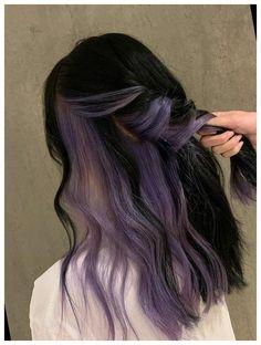 Hair Color Streaks, Hair Dye Colors, Hair Color For Black Hair, Two Color Hair, Hair Color Purple, Black And Green Hair, Purple Hair Highlights, Dark Blue Hair, Dyed Hair Purple