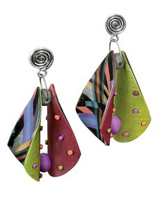 Wings Multi 1 Earrings by Arden Bardol: Polymer Clay Earrings available at www.artfulhome.com