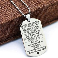 To My Son poem charm Pendant Necklace, Son Gift From Mom, custom son dog tag son pendant necklace, g Thoughtful Gifts For Him, Unique Gifts For Him, Gifts For Boys, Mens Dog Tag Necklace, Son Poems, Custom Dog Tags, Hand Stamped Necklace, Stamped Jewelry, Name Gifts