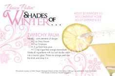 """Have you been wanting to get a taste of Christian Grey's """"Twitchy Palm""""? Well, now you can with this sweet cocktail recipe. Yum! kolaspassionparties@yahoo.com"""