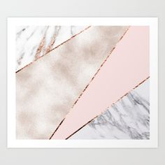 Spliced mixed rose gold marble Art Print