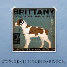 Brittany Spaniel records original illustration by geministudio, $39.00