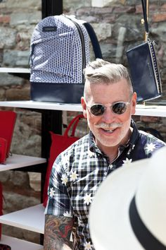Nickelson Wooster wearing florals at WANT Les Essentiels de la Vie at Pitti Uomo