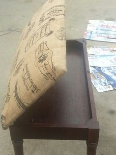 Refurbished piano bench. Refinised by sanding staining and upholstering the top with burlap & Redoing a Piano Bench; Wood to Black- from Drab to Fab!! | Piano ... islam-shia.org