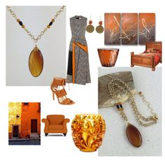 Burn it up with Burnt Orange Brazilian Agate Pendant Necklace by Rock2Gems.com (created @ www.polyvore.com/Rock2Gems) #colorfulnecklace #orangeandgold #pendantnecklace #agatenecklace #citrinenecklace