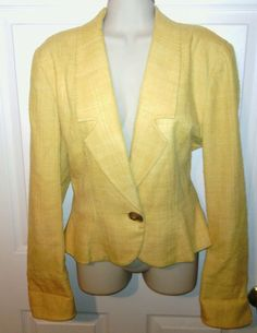 Women's Christian Dior blazer size 8 yellow jacket suit coat designer VGUC lined #ChristianDior #Blazer