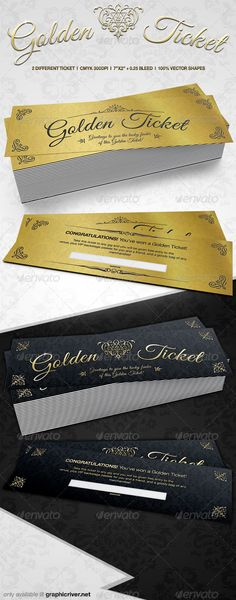 Elegant Golden Tickets - Cards & Invites Print Templates