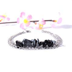 Chakra Jewelry, Chakra Bracelet, Gemstone Jewelry, Artisan Jewelry, Handmade Jewelry, Snowflake Obsidian, Stone Bracelet, Natural Gemstones, Jewelry Making