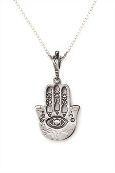 Silver Hamsa Necklace - Three Fish, Jewish & Israeli Jewelry | Judaica Web Store $44.95