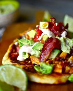 Yammie's Noshery: Chipotle Lime Chicken Bacon Flatbread Tacos