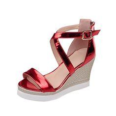 MissSaSa Damen open-toe Plateau keilabsatz cross Riemchen Sandalen mit Reißverschluss modern und elegant high-heel Wedge Schnalle Sandalen: Amazon.de: Schuhe & Handtaschen