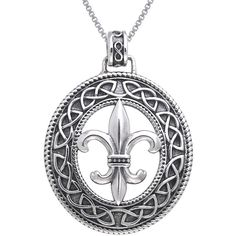 Carolina Glamour Collection Sterling Silver Fleur De Lis Celtic Knot... (235 PLN) ❤ liked on Polyvore featuring jewelry, necklaces, silver, long pendant necklaces, long sterling silver necklace, fleur de lis pendant necklace, box chain necklace and sterling silver box chain necklace
