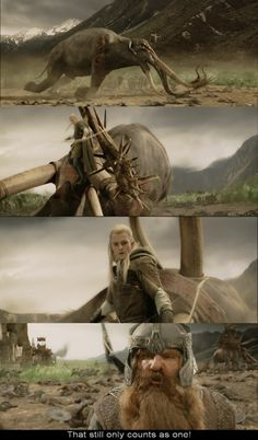 """""""That still only counts as one!"""" I love you Gimli :)"""