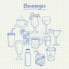 Beverages doodles - squared paper Royalty Free Stock Vector Art Illustration